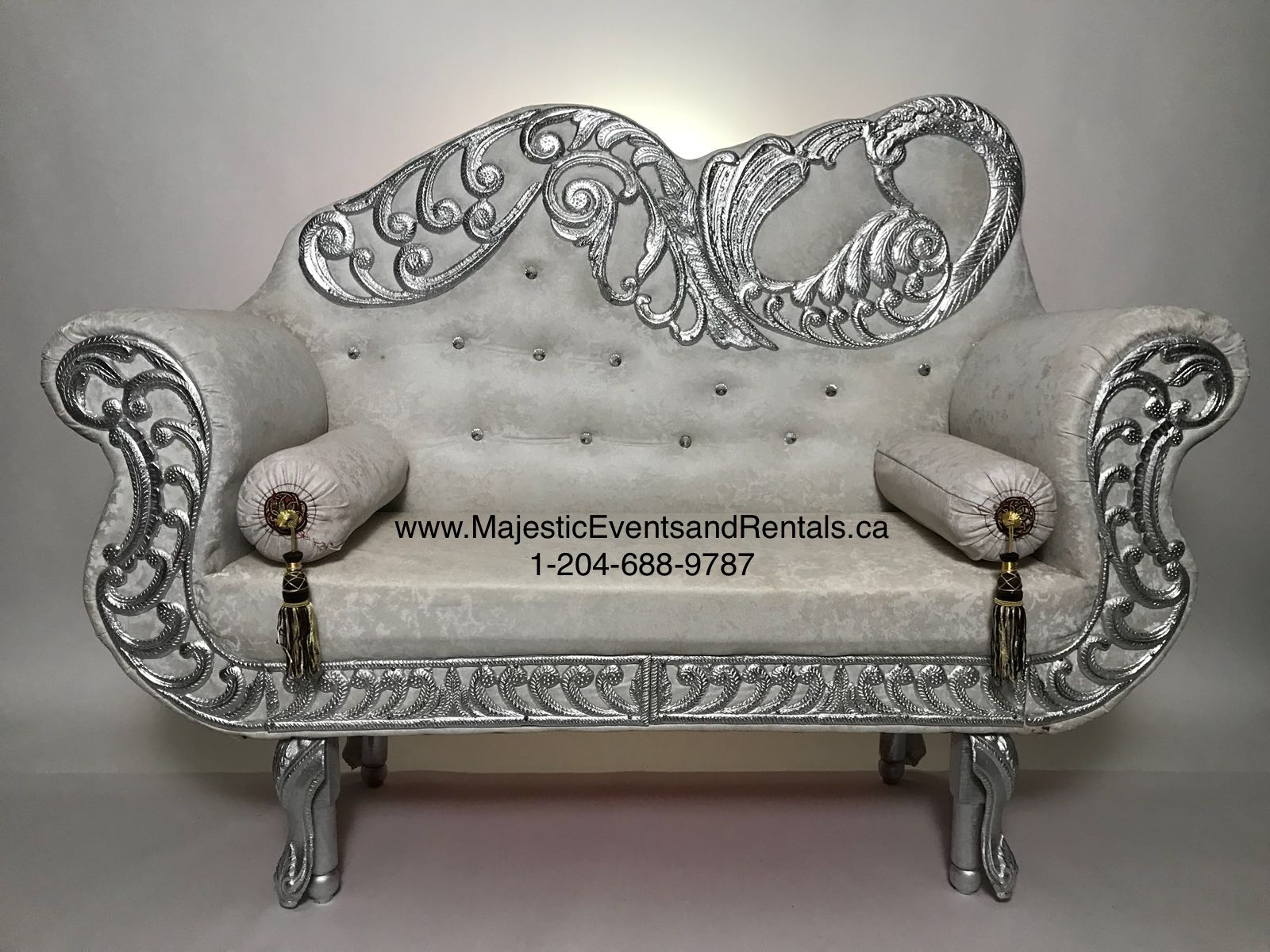 Peacock Engraved White Buttoned Loveseat w/ SILVER trim